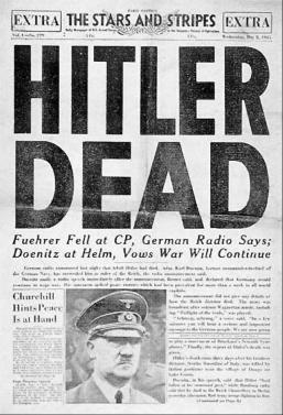 Bron: A headline in the U.S. Army newspaper Stars and Stripes announcing Hitler's death.  Bundesarchiv, Bild 183-S62600 / CC-BY-SA