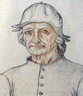 Kunstenaar: ca.1550 Jacques Le Boucq: Red and black crayon (potlood)  uit ''Recueil d'Arras (fol. 275). Arras, Bibliothèque Municipale.}} {{nl|1=''Portret van Jheronimus Bosch'' ('Jeronimus.