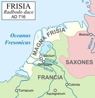 Kaart van Magna (groot) Frisia (Friesland), in het Latijn rond 716. Cropped to the low countries area. The original can be viewed here: Frankish Empire 481 to 814-fr.svg.  Modifications made by Richardprins.